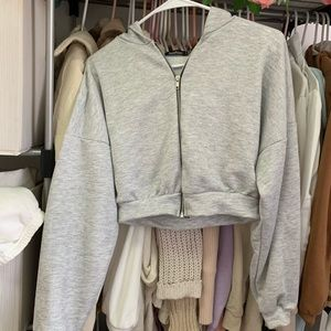 Gray cropped zip hoodie